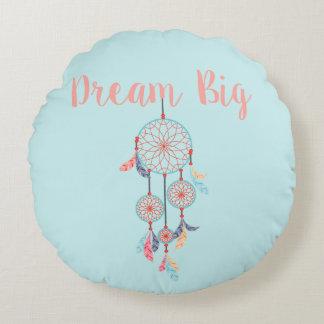 Dream Big Dreamcatcher Bohemian Dream Catcher Round Cushion