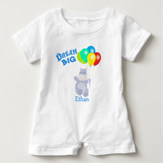 Dream Big Hippo Balloons Adventure Baby Bodysuit