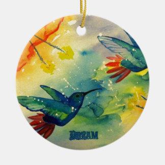 Dream Big Hummingbird Watercolor Painting Christmas Tree Ornaments
