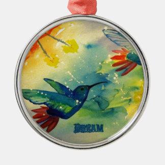 Dream Big Hummingbird Watercolor Painting Ornament