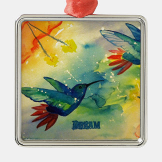 Dream Big! Hummingbird Watercolor Painting Silver-Colored Square Decoration