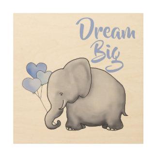 DREAM BIG Inspirational Cute Elephant Nursery Wood Wall Art