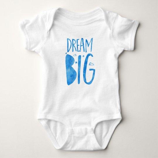 Dream Big, inspirational quote, blue watercolor Baby Bodysuit