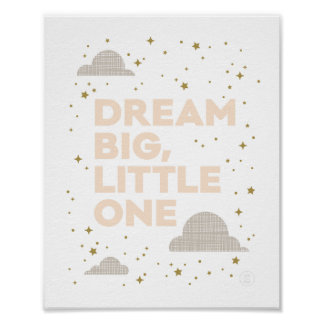 Dream Big, Little One Art Print in Peach