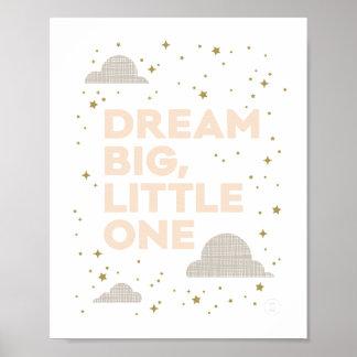 Dream Big, Little One Art Print in Peach