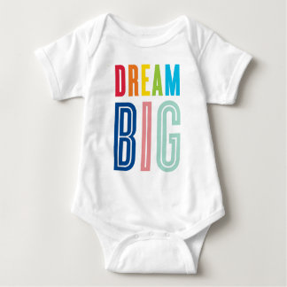 DREAM BIG LITTLE ONE cool typography bright colors Baby Bodysuit