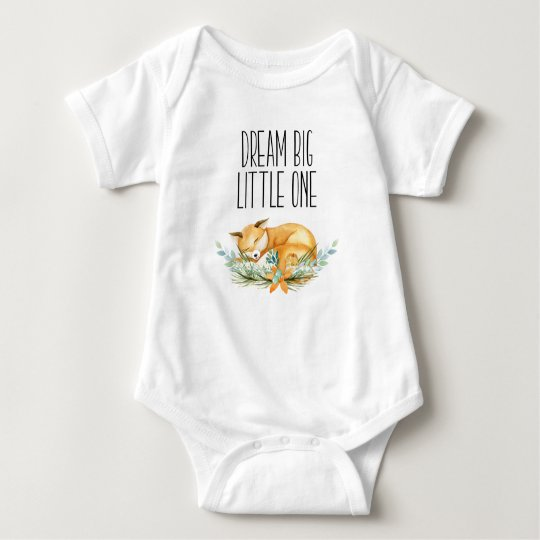 Dream Big Little One Fox Babygrow Baby Bodysuit