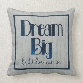 Dream Big Little One Gray Stars Pillow