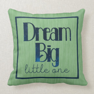 Dream Big Little One Green Stars Pillow