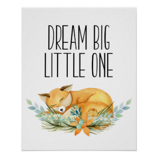 Dream Big Little One, Sleeping Fox Print