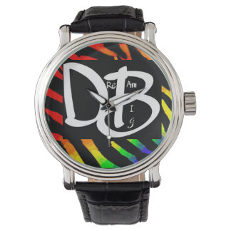 Dream Big Rainbow Zebra Print Watch