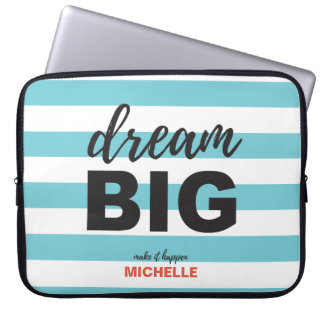 Dream Big, Script text, Personalized, Custom color Laptop Sleeves