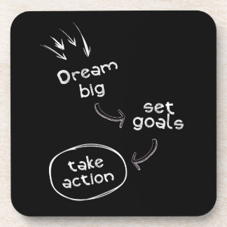 Dream big set goal take action motivational quote coaster