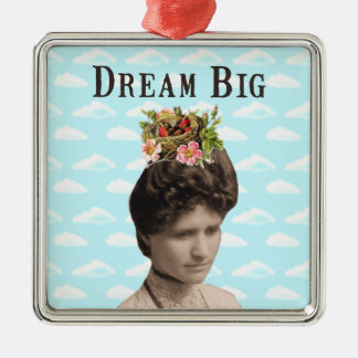 Dream Big Vintage Photo Collage Silver-Colored Square Decoration