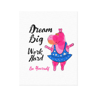 """Dream big"" with pink hippo ballerina Canvas Print"