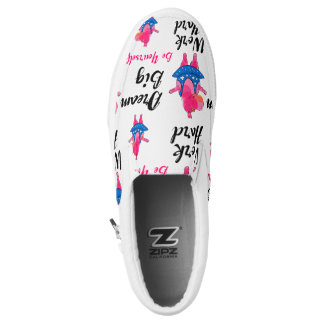 """Dream big"" with pink hippo ballerina Printed Shoes"