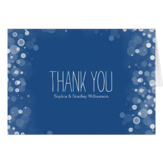 Dream Blue and White Confetti Bokeh Thank you Card