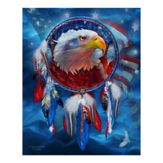 Dream Catcher - Eagle Red White Blue Poster/Print