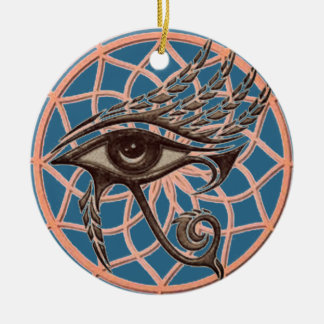 Dream Catcher Eye Of Horus Blue Christmas Ornament