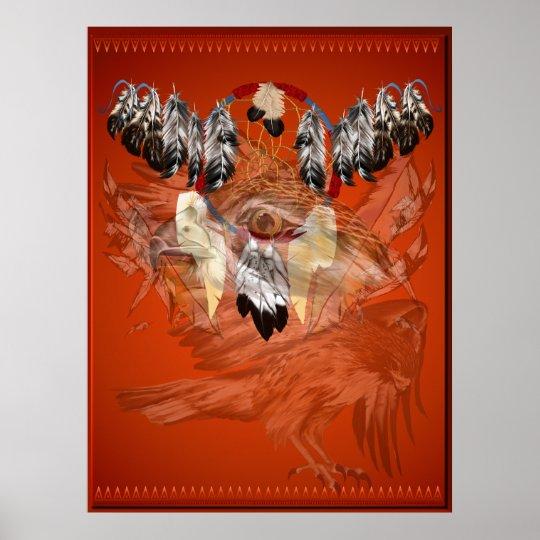Dream Catcher Hawk Face Posters
