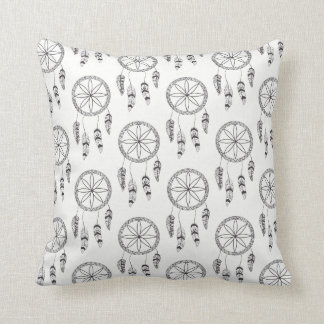 Dream Catcher Pattern Black & White Tribal Boho Cushion