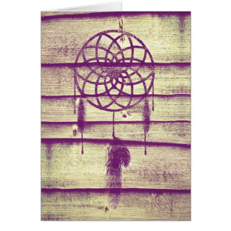Dream Catcher Purple Wood Card