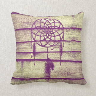 Dream Catcher Purple Wood Cushion
