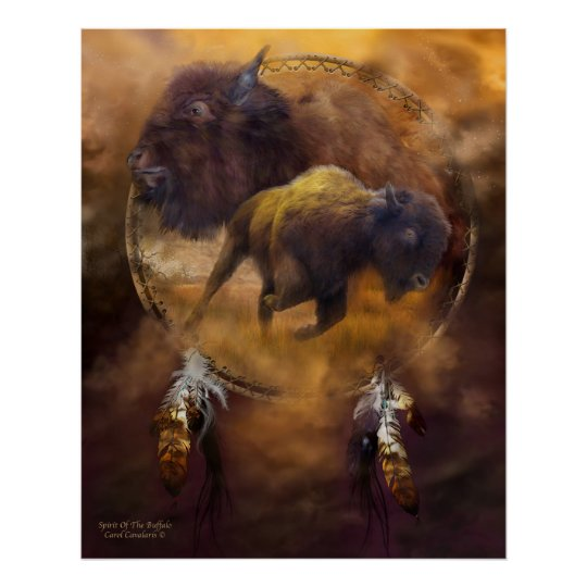 Dream Catcher Series-Spirit Of The Brown Buffalo Poster