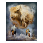 Dream Catcher Series-Spirit Of The White Buffalo Poster