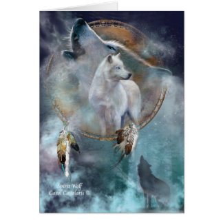 Dream Catcher Series -Spirit Wolf ArtCard Greeting Card