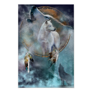 Dream Catcher Series-Spirit Wolf Poster/Print Poster