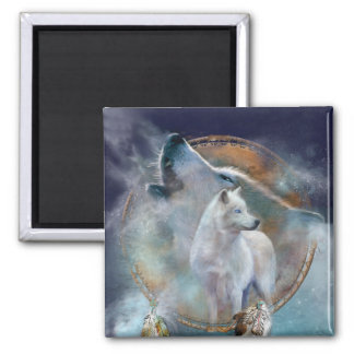 Dream Catcher - Spirit Wolf Art Magnet