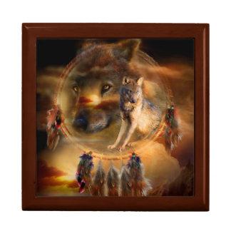 Dream Catcher - Spirit Wolves Art Giftbox Large Square Gift Box
