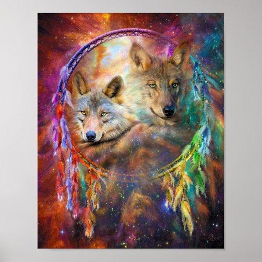 Dream Catcher - Spirit Wolves Art Poster/Print Poster