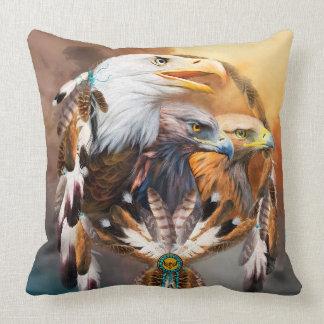 Dream Catcher - Three Eagles Art Designer Pillow