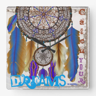 Dream catcher with a magic bird blue feathers wall clock