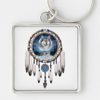 Dream catcher with wolf background key ring