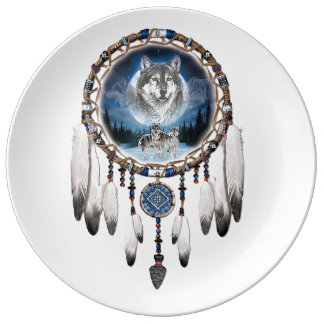 Dream Catcher with wolf background Plate