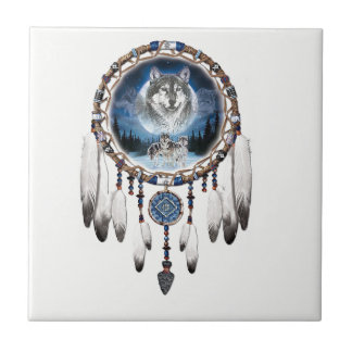 Dream Catcher with wolf background Tile