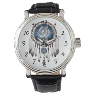 Dream Catcher with wolf background Watch