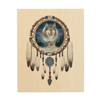 Dream Catcher with wolf background Wood Wall Art