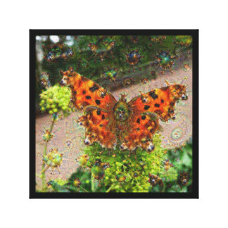 Dream Creatures, Butterfly, DeepDream Stretched Canvas Print