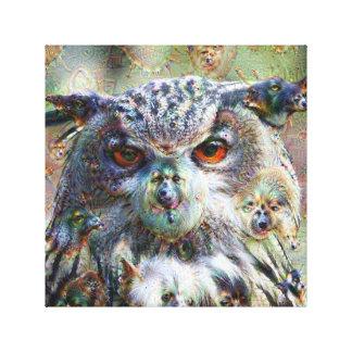 Dream Creatures, Eagle Owl, DeepDream Stretched Canvas Print