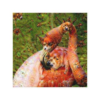 Dream Creatures, Flamingo, DeepDream Stretched Canvas Print