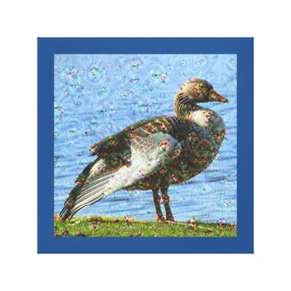Dream Creatures, Goose, DeepDream Stretched Canvas Print