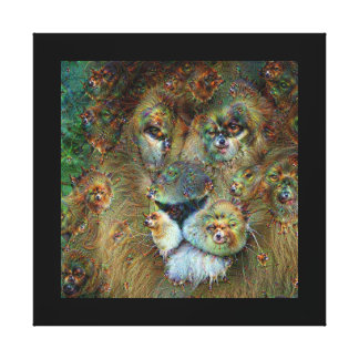 Dream Creatures, Lion, DeepDream Canvas Print