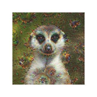 Dream Creatures, Meerkat, DeepDream Stretched Canvas Print