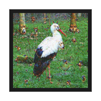 Dream Creatures, Stork, DeepDream Gallery Wrapped Canvas