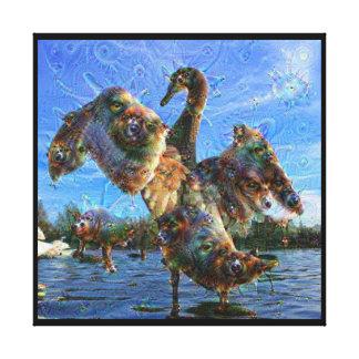 Dream Creatures, Swan, DeepDream Stretched Canvas Print