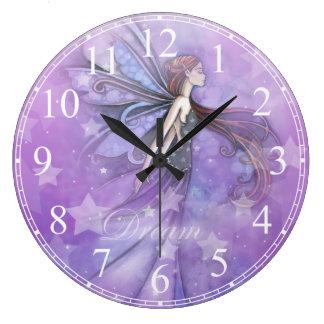 Dream Fairy in the Stars Large Clock